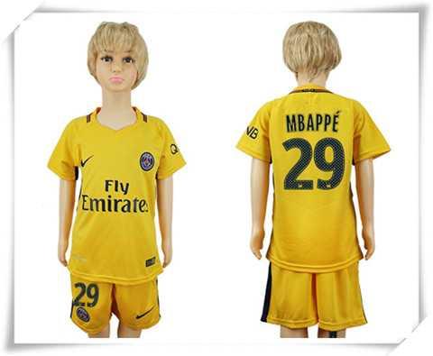 Günstig Paris Saint-Germain kinder MBAPPE 29 auswärtstrikot fußball trikots billig kaufen 17-18