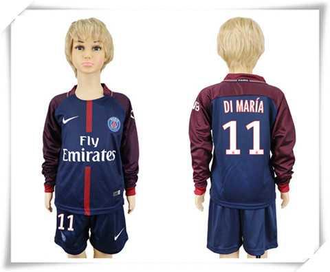 Günstig Paris Saint-Germain kinder DI MARIA 11 lange ärmel heimtrikot fußball trikots billig kaufen 17-18